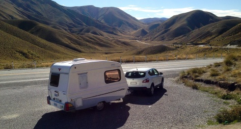At the top of the Lindis Pass on our South Island trip