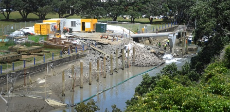 Looking down from Beach road towards the Cruising club. The poles for the safety pontoon.