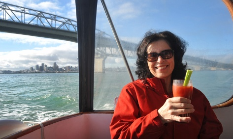 Fiona with her Bloody Mary after going under the Harbour Bridge