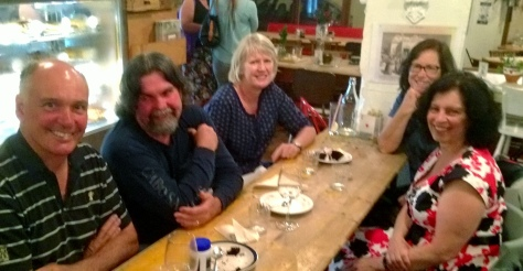 At the restaurant looking happy. L to R, Geoff, Mark, Geoffs wife Bev, Marks wife Tina and Fiona.