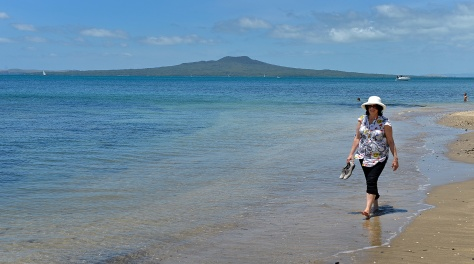 Fiona cooling off with Rangitoto behind