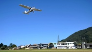 A plane takes off from Pauanui airfield.