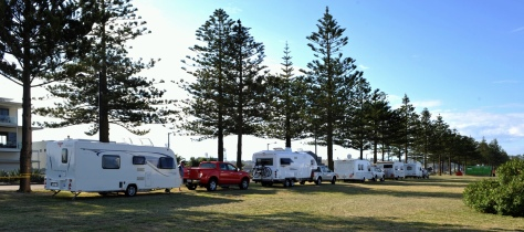 Down on the waterfront. Our friends from Whitianga with the red truck and caravan.