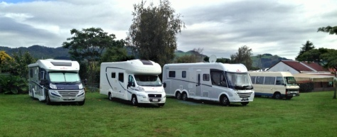 Rafe, Helen and Robs AutoTrail, and Dianne and Gary's XLI safely tucked in at the Goldfields Railway Motorhome parking