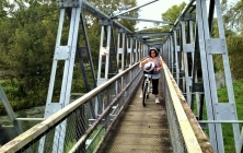 Fiona on the first bridge at Waikino