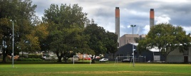 Huntly power station fro Lake Hakanoa