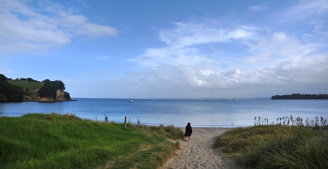Fiona checking out the Beach. Auckland in the distance