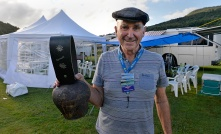 Chairman Geoff with his swiss cow bell