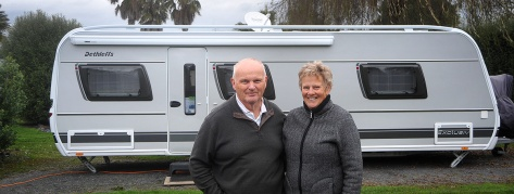 Kel and Jenny with their Caravan