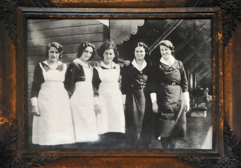 NZR café staff in the early 1900's . The lady in the middle was the manager who recently had her 90th birthday at the Café.