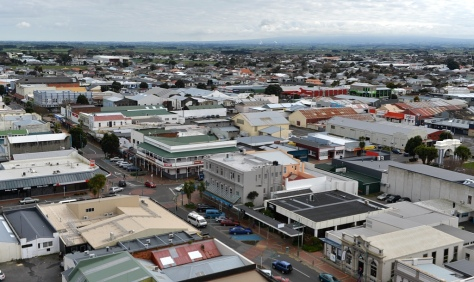The Main Street of Hawera with the base of Mt Taranaki on the right.