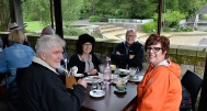 Lunch at the gardens café, Graham from Tauranga, Fiona, Gary and Dianne