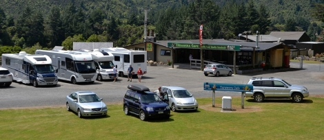 Us in the car park at Tarawera Cafe