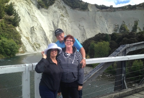 Fiona, Gary and Dianne on the bridge between the two camps