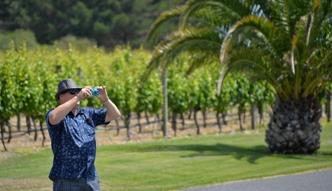 Gary taking photos of the vineyard