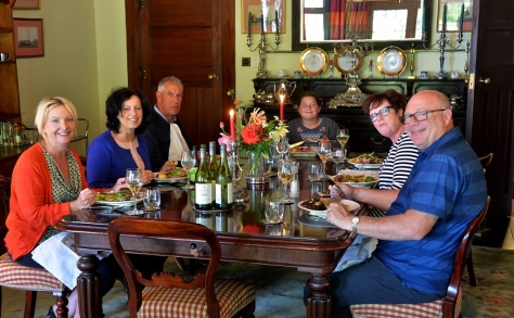 Us tucking in.. L to R, Helen, Fiona, Rob, Chloe, Dianne and Gary