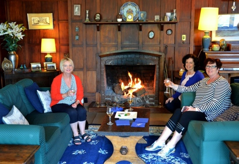 Helen, Fiona and Dianne enjoying the ambience and fire