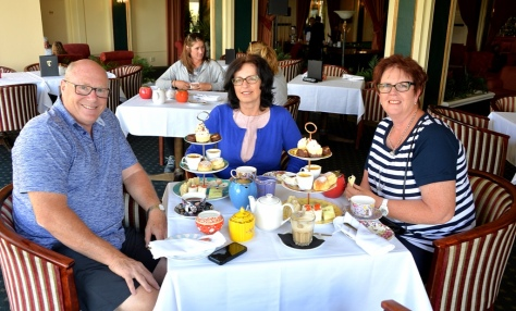 Gary, Fiona and Dianne at High tea.