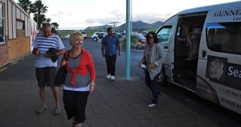 Rob, Helen and Fiona arriving in the van.