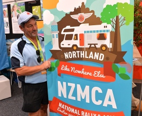 Rob finishing off setting up the NZMCA Northland stand