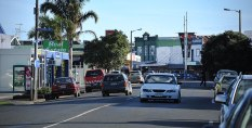 Looking down Dargaville's shopping area