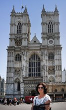 Fiona outside Westminster Abbey