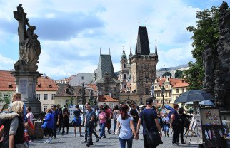 Looking along the Charles Bridge