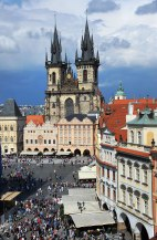 Old Town Square and Tyn Cathedral from the rooftop.