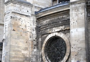 Bullet and shrapnel holes in the Cathedral