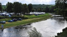 The Border, On the left is Germany and on the right is Luxembourg. The camp is on the river