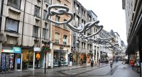 Downtown Luxembourg is mostly all pedestrian access only. The pipe sculpture is made from ducting.