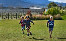 Kids having running races out the back.