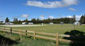 The NZMCA Park. Dave and Therese's caravan on the left. Rafe on the right.