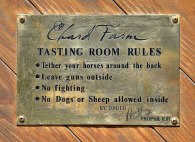 Wine tasting rules at Chard Farm