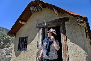 Fiona checking out a miners hut