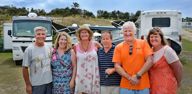 L to R, Peter and Wendy, Pam and Mike, Grant and Sharron with their Motorhomes.