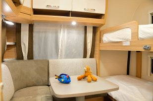 The childrens bunk and lounge area. Dethleffs
