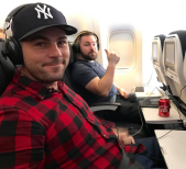 Andrew and Alex on the plane