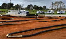 Looking back to the Motorhome Parking area across the Kart track