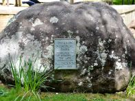 The memorial rock to Mr Dickson