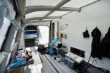 Inside the awning